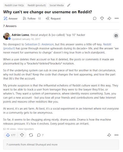 Warum können wir einen Benutzernamen auf Reddit nicht ändern?
