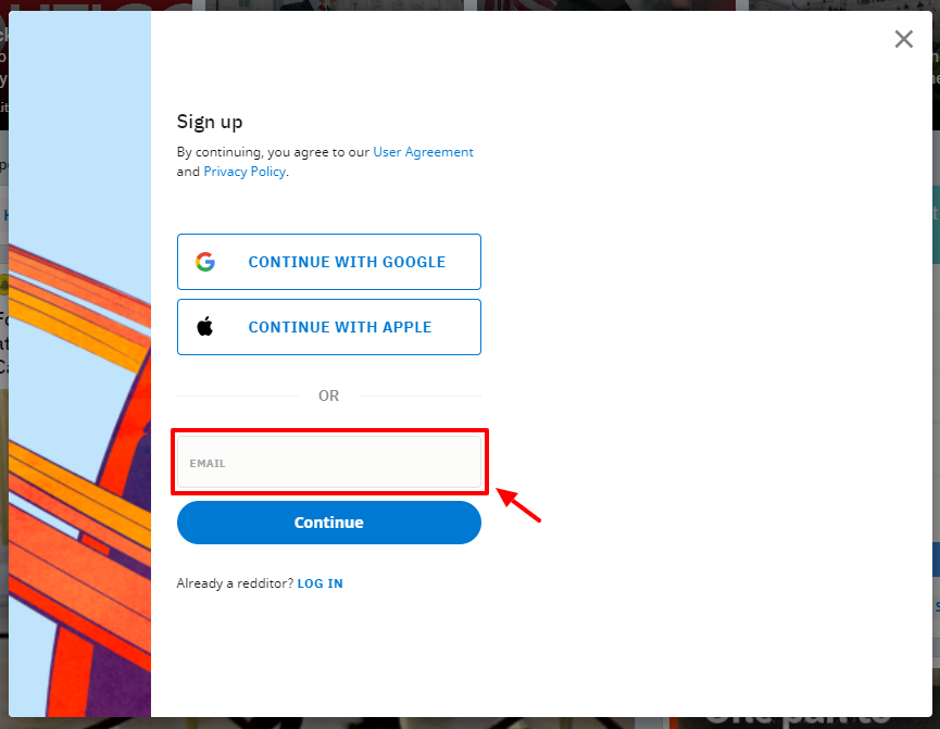 Melden Sie sich mit einer neuen oder bestehenden E-Mail-Adresse an