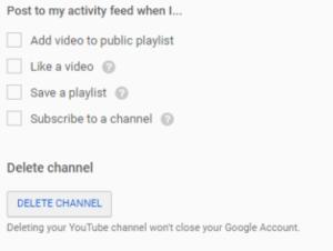Supprimer une chaîne YouTube - Appuyez sur Supprimer