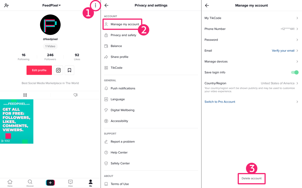 How to use TikTok- delete TikTok account