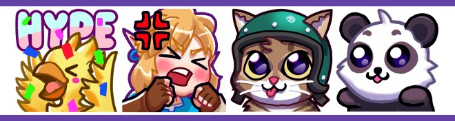 Examples of various Twitch emotes you can make