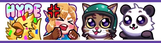Exemples de diverses emotes Twitch que vous pouvez créer